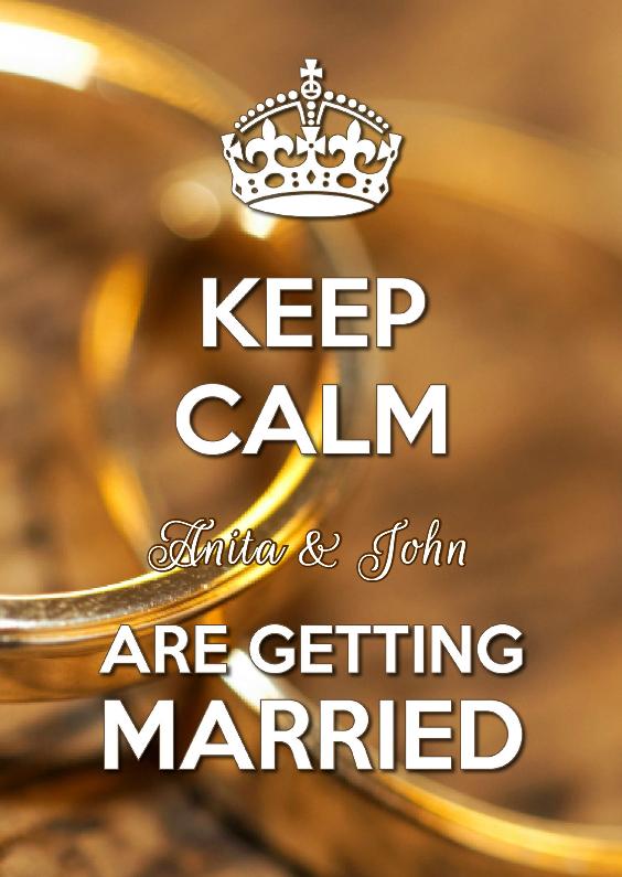 Trouwkaarten - Keep Calm Getting Married OT