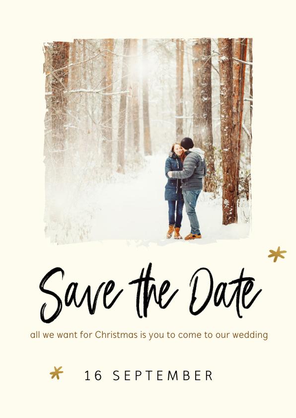 Trouwkaarten - Kerstkaart met save the date uitnodiging en foto