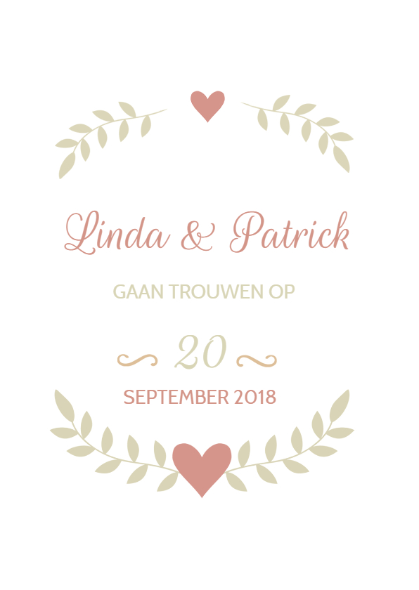 Trouwkaarten - Klassieke trouwkaart takje