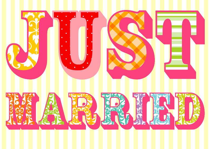 Trouwkaarten - Kleurige Just married kaart