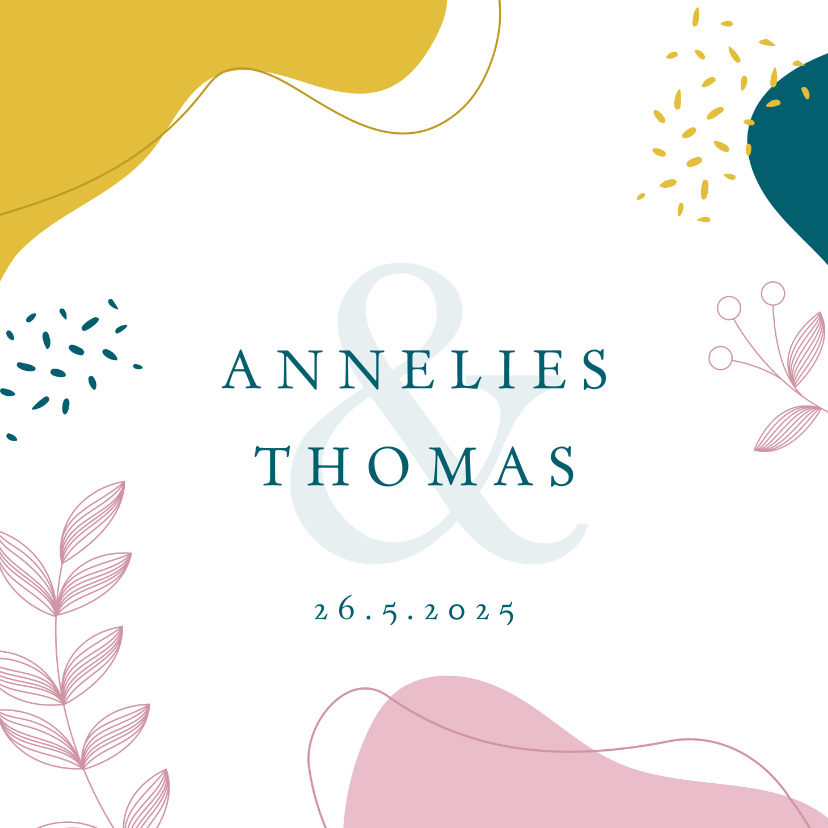 Trouwkaarten - Kleurrijke botanische trouwkaart