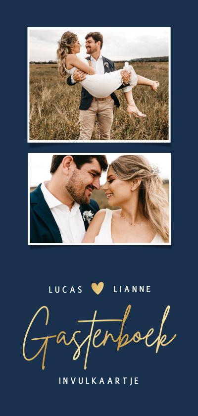 Trouwkaarten - Langwerpig gastenboek invulkaartje voor een bruiloft