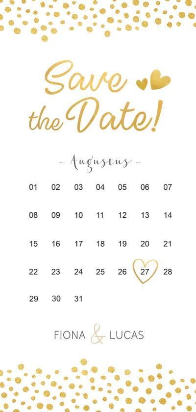 Trouwkaarten - Langwerpige Save the Date kaart kalender met gouden hartjes
