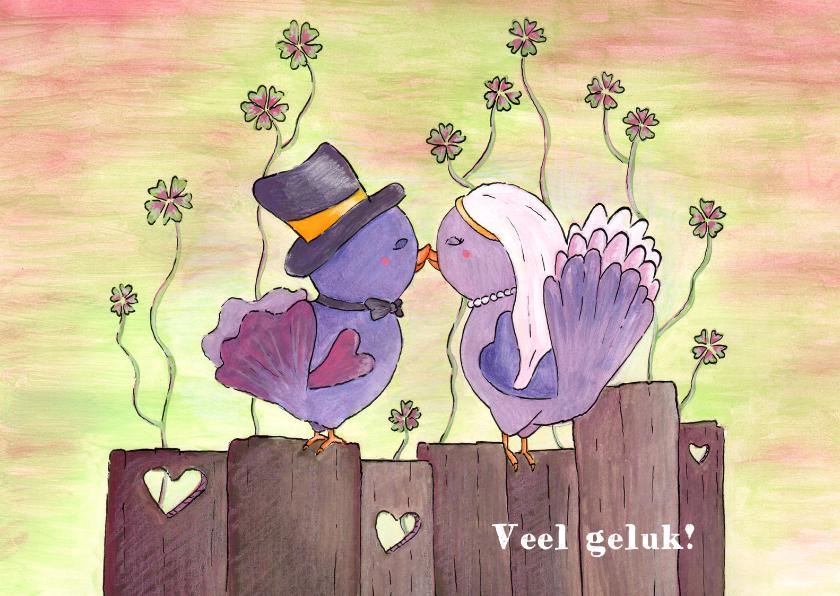 Trouwkaarten - Liefdesvogeltjes