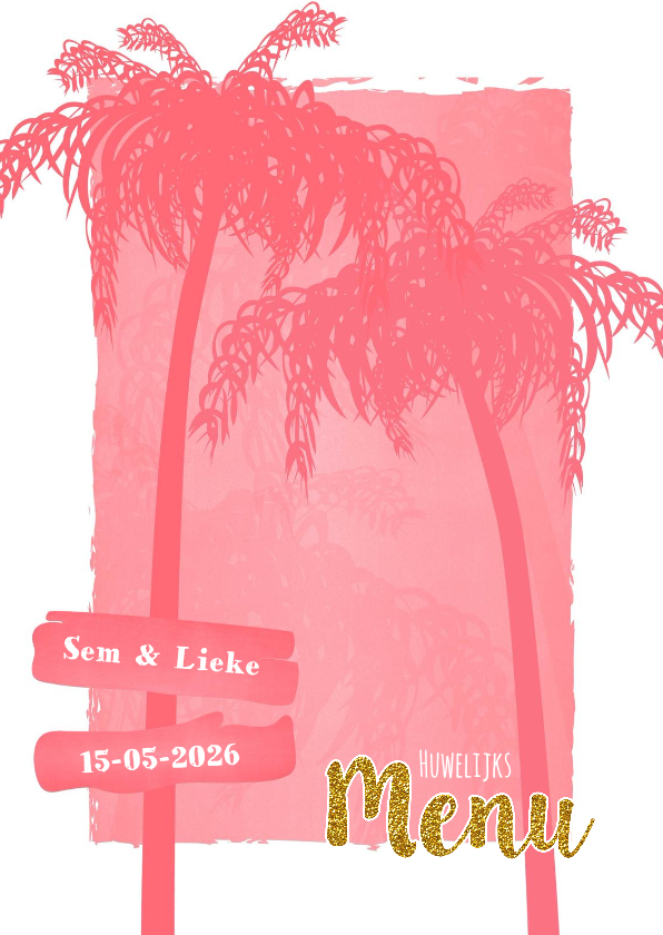 Trouwkaarten - Menu beach palm roze