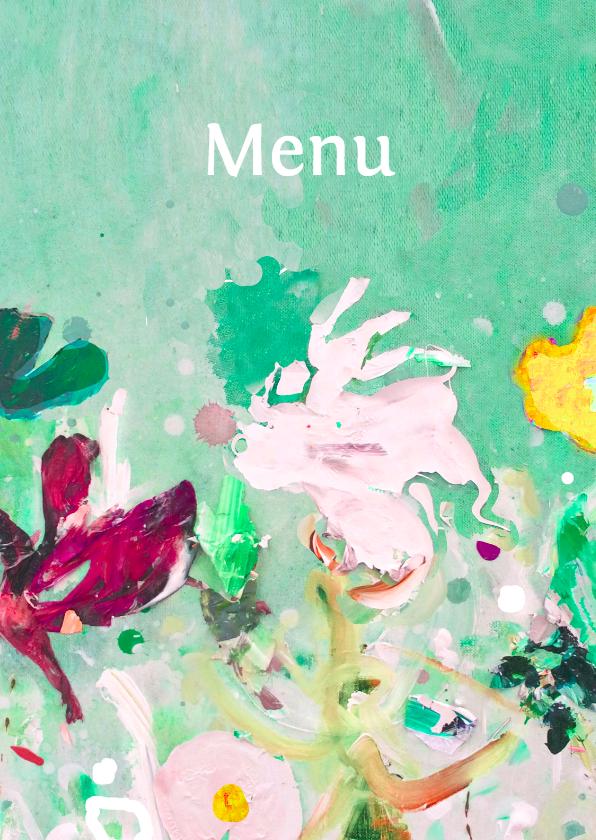 Trouwkaarten - Menu fleurige bloemen mix