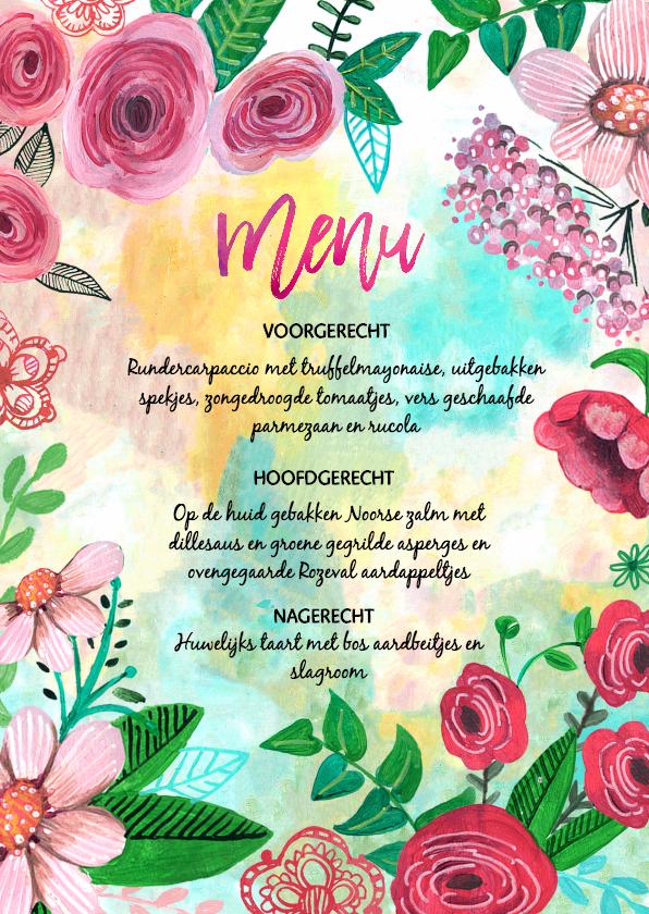 Trouwkaarten - Menukaart bloemen geschilderd