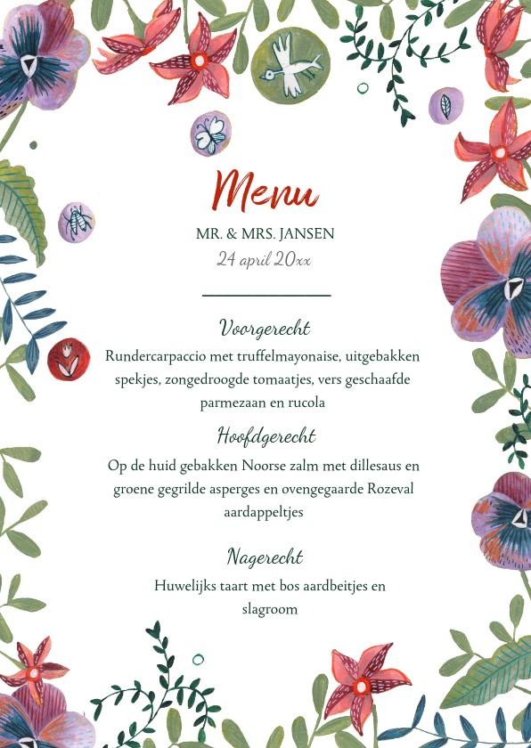 Trouwkaarten - Menukaart bohemian bloemen rand