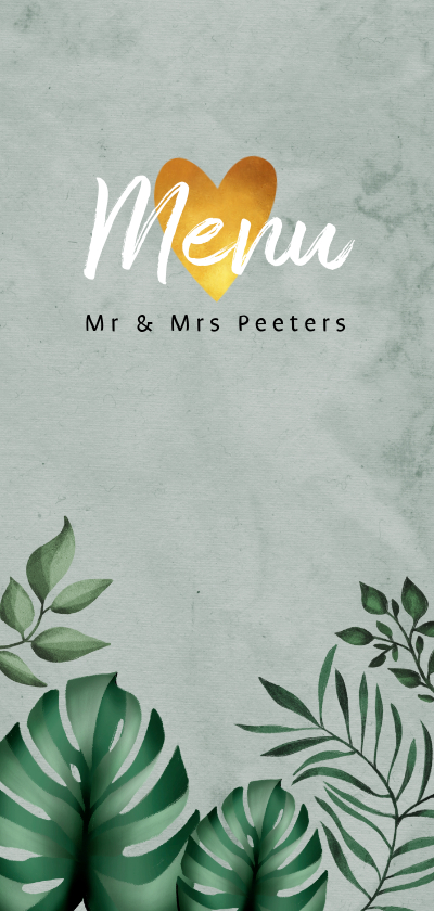 Trouwkaarten - Menukaart bruiloft botanisch groen goud bladeren