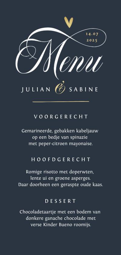 Trouwkaarten - menukaart bruiloft hartje true love foto stijlvol chique