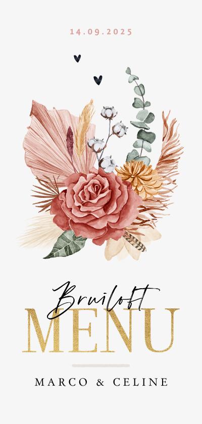 Trouwkaarten - Menukaart bruiloft stijlvol bohemian droogbloemen goud