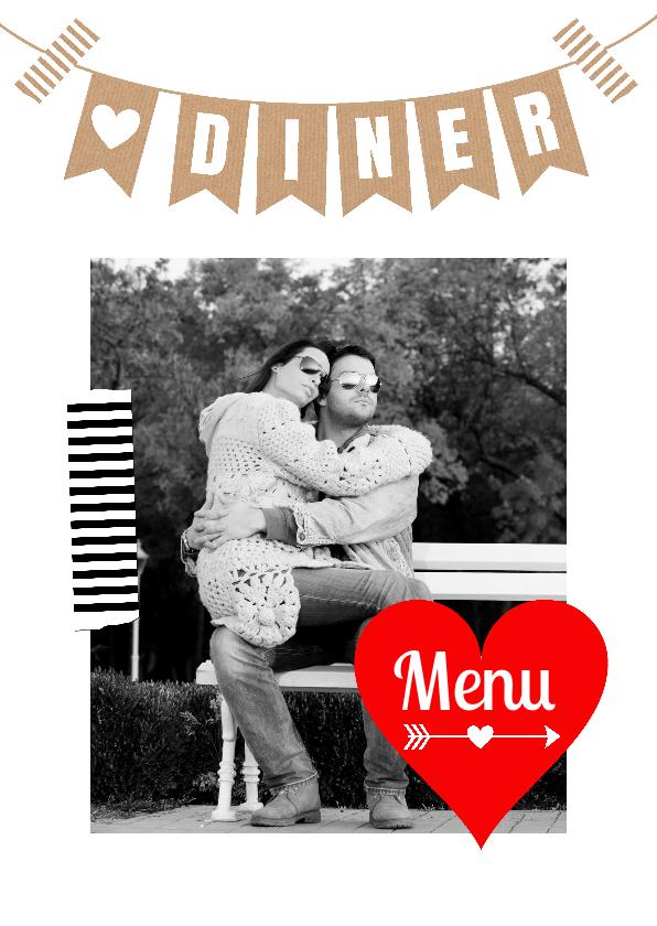 Trouwkaarten - Menukaart eigen foto