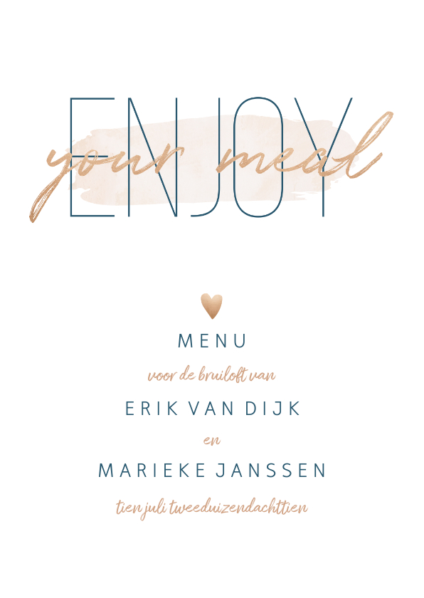 Trouwkaarten - Menukaart 'Enjoy your meal' met goudlook en waterverf