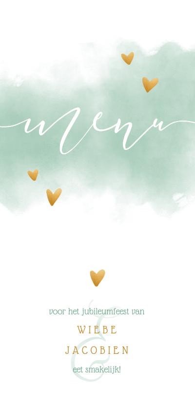 Trouwkaarten - Menukaart 'MENU' met waterverf en gouden hartjes