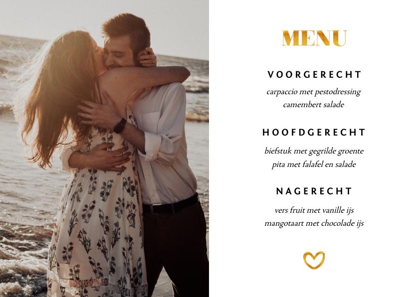 Trouwkaarten - Menukaart met 1 foto en gouden accenten liggend