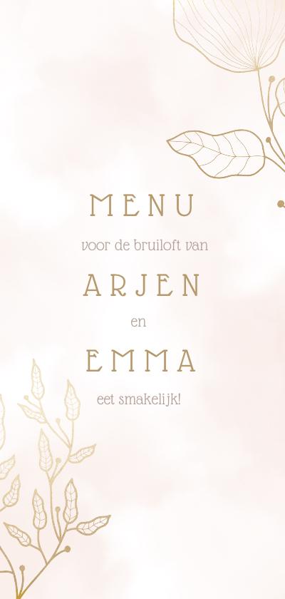 Trouwkaarten - Menukaart met elegante bloemen en waterverf langwerpig