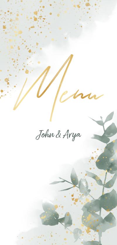 Trouwkaarten - Menukaart met groene waterverf, takjes en gouden typografie