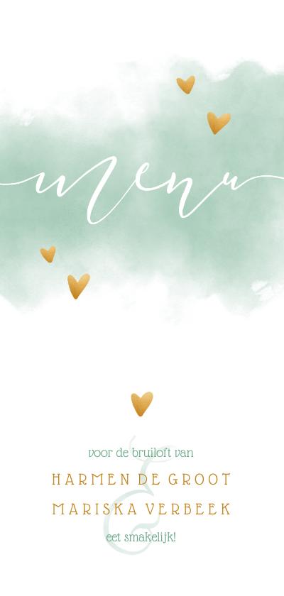 Trouwkaarten - Menukaart met waterverf en gouden hartjes