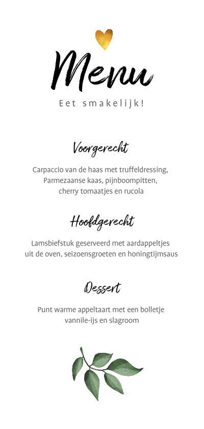 Trouwkaarten - Menukaart stijlvol botanisch bohemian met goudaccenten