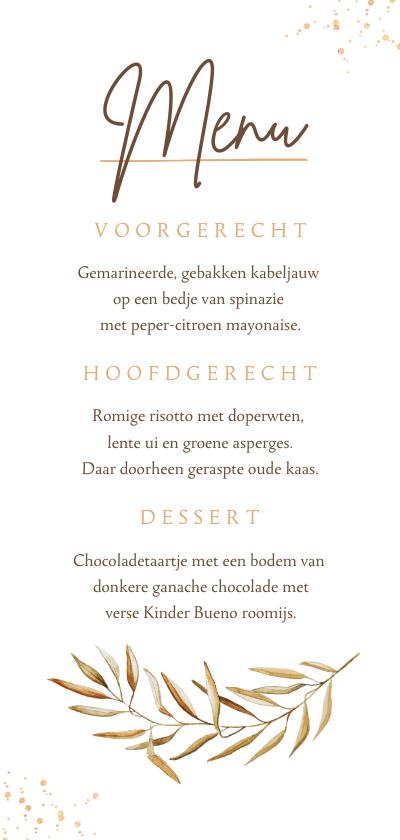 Trouwkaarten - Menukaart trouwdag bohemian gedroogd takje goud