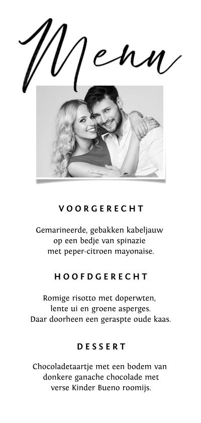Trouwkaarten - Menukaart trouwen onderwater art zwart wit stijlvol foto