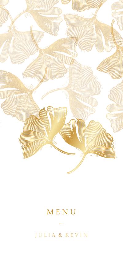 Trouwkaarten -  Menukaart voor bruiloft ginkgoblad stempel