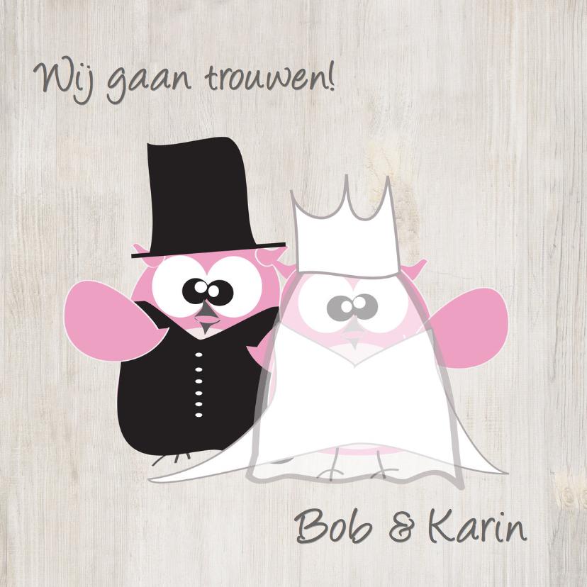 Trouwkaarten - Mo Card leuke en grappige trouwkaart uiltjes stel