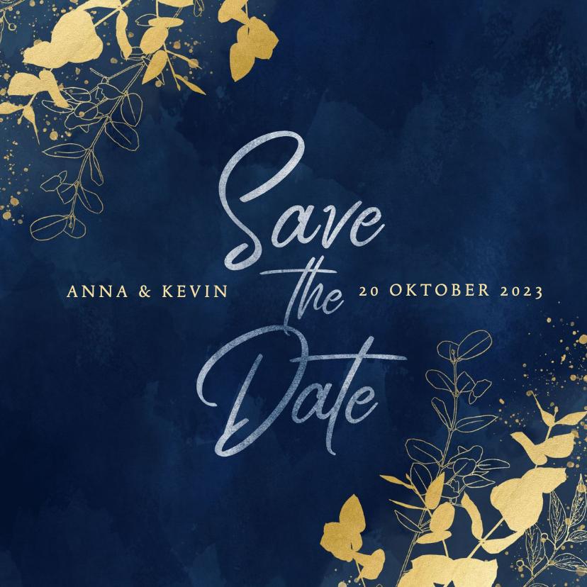Trouwkaarten - Moderne save the date kaart blauwe waterverf gouden planten
