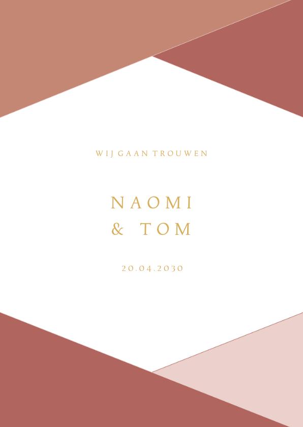 Trouwkaarten - Moderne trouwkaart geometrische vormen