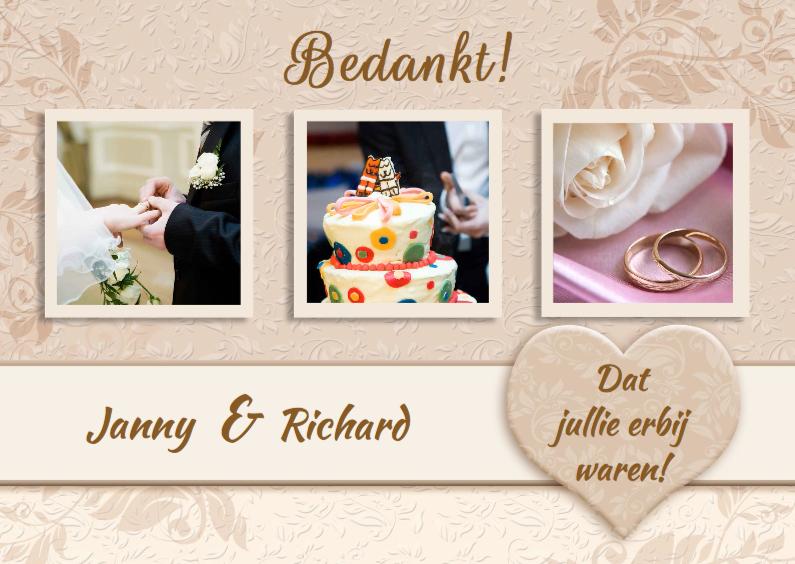 Trouwkaarten - Mooie bedankkaart Huwelijk band met namen,  hart en 3 foto's
