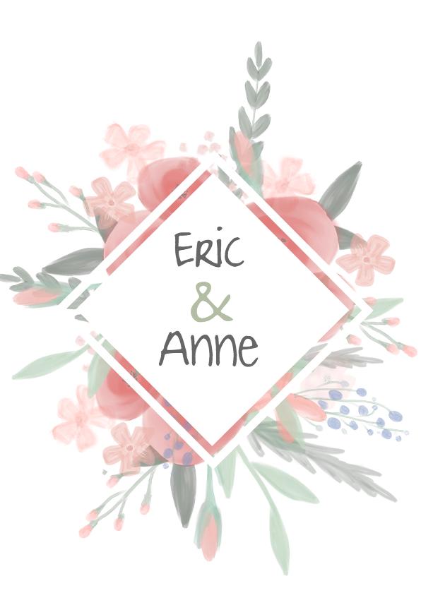 Trouwkaarten - Mooie Bohemian trouwkaart met watercolor bloemen.