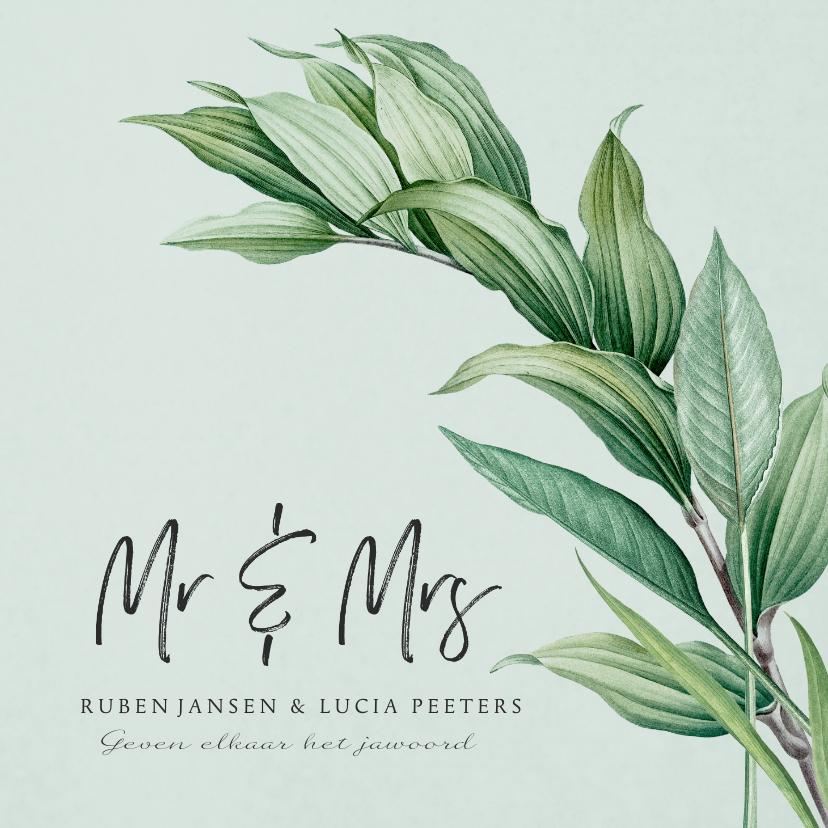Trouwkaarten - Mr and Mrs trouwkaart botanisch groen bladeren stijlvol