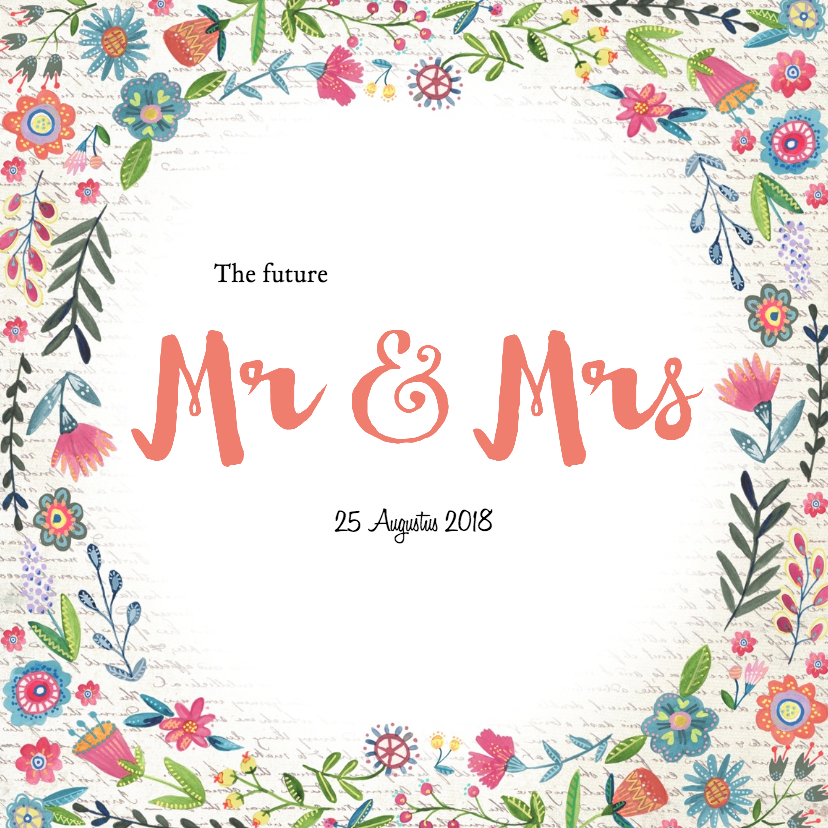 Trouwkaarten - Mr & Mrs Bloemen Boho kaart