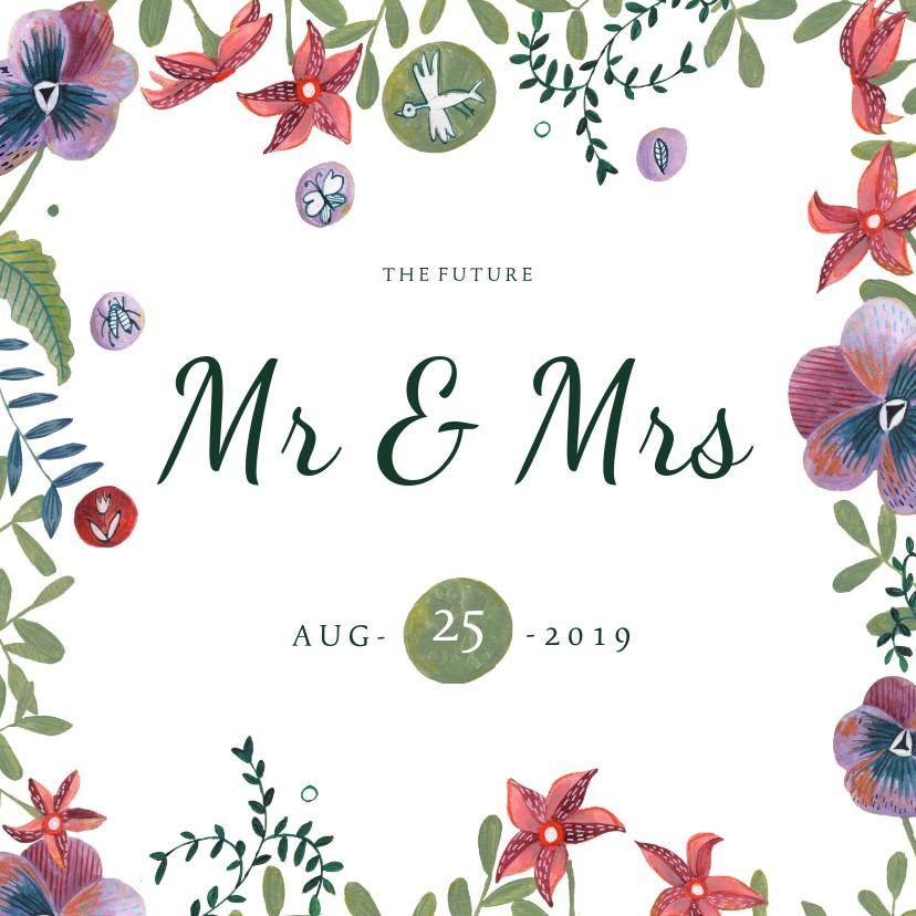 Trouwkaarten - Mr & Mrs trouwkaart Bohemian wedding