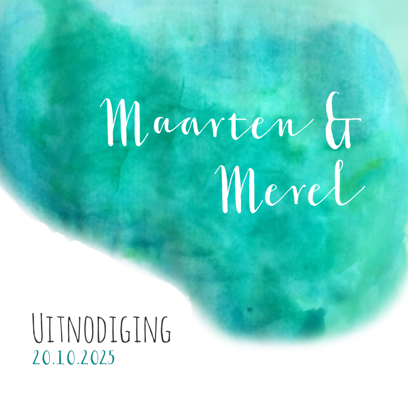 Trouwkaarten - Oh watercolor wedding - DH