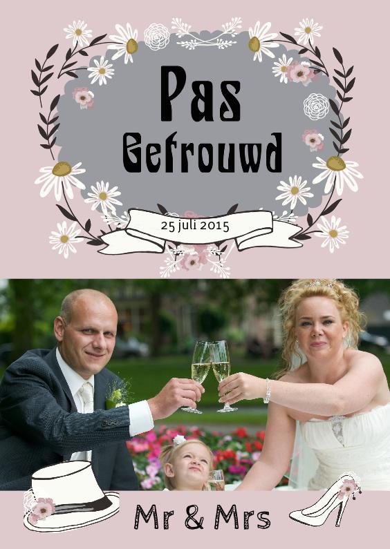 Trouwkaarten - Pas getrouwd retro foto