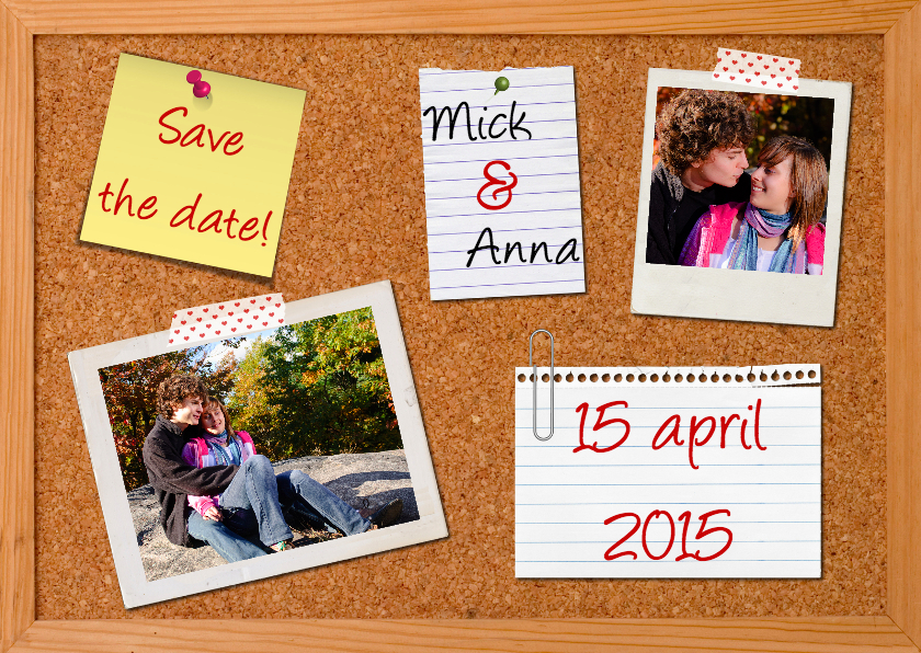 Trouwkaarten - Prikbord Save The Date kaart