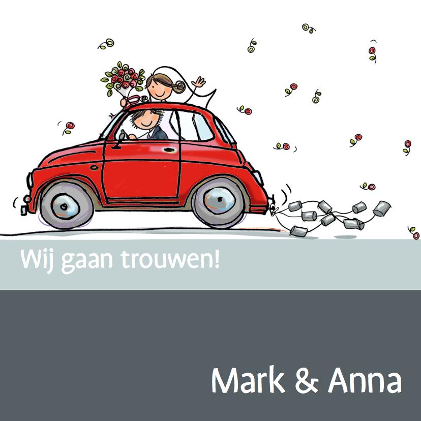 Trouwkaarten - Rode fiat 500 trouwkaart