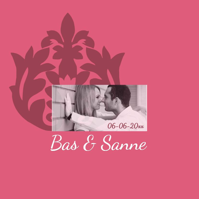 Trouwkaarten - romantisch roze trouwkaart - SZ