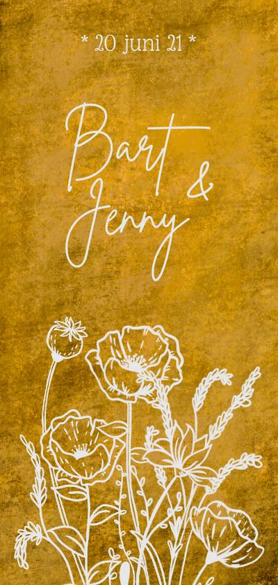 Trouwkaarten - Romantische stoere oker-gele trouwkaart met wilde bloemen