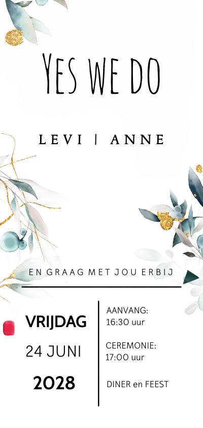 Trouwkaarten - Romantische trouwkaart met watercolor bloemen