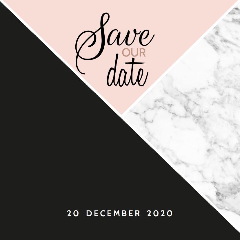 Trouwkaarten - Save our date roze en marmer
