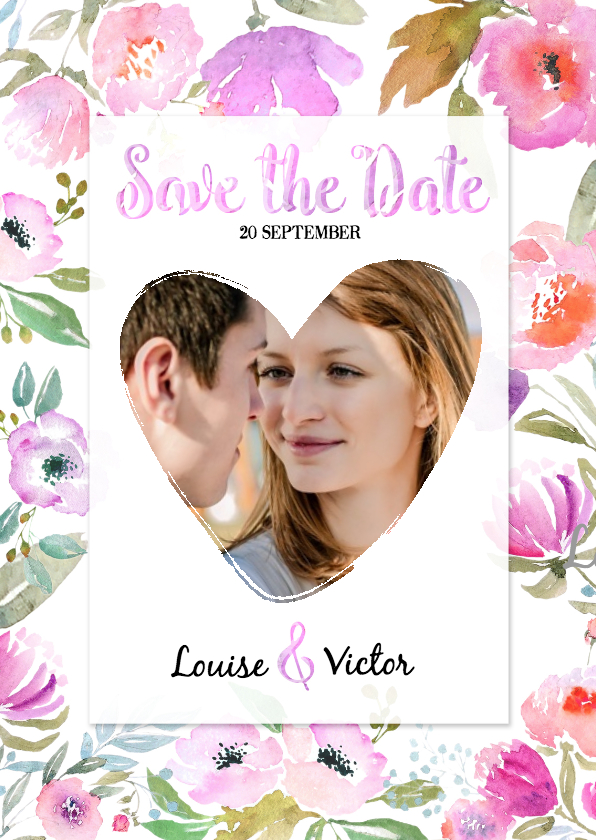 Trouwkaarten - Save the Date Aquarel - BK