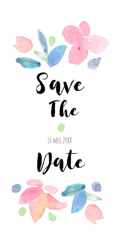 Trouwkaarten - Save the date, aquarel bloemen