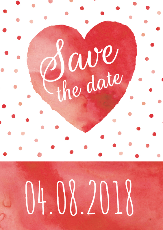 Trouwkaarten - Save the date aquarel hart