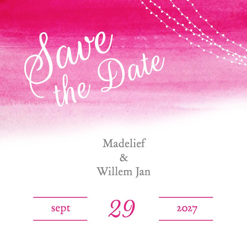 Trouwkaarten - Save the Date aquarel roze - DH