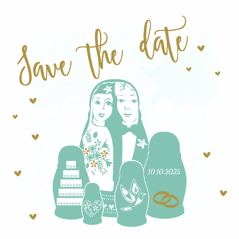 Trouwkaarten - Save the Date Baboesjka