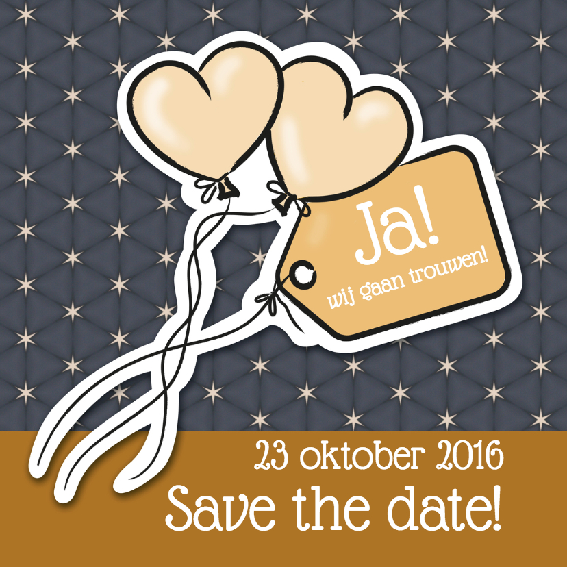 Trouwkaarten - Save the date - ballonnen