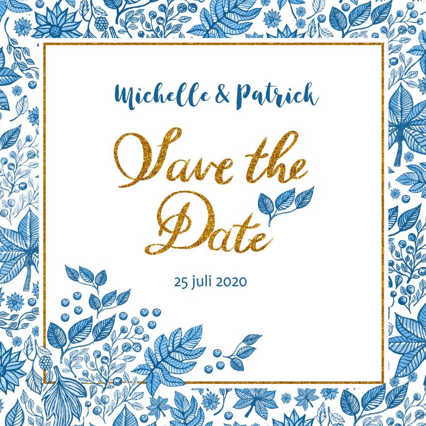 Trouwkaarten - Save the date blauwe bladeren