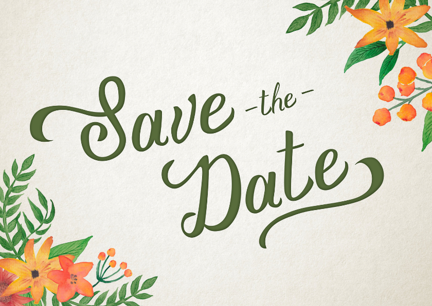 Trouwkaarten - Save the Date Bloem Handlettering
